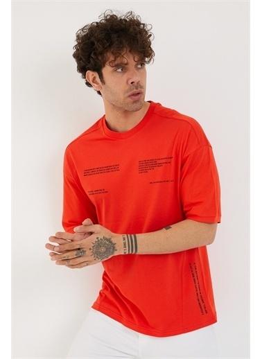 XHAN Buz Mavisi Baskılı Oversize T-Shirt 1Yxe1-44877-43 Oranj
